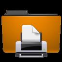 printer, print, orange, folder icon