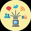 online marketing, management, rss, laptop, internet, social media, connection, blogging, internet marketing, seo, web, news, network, communication icon