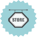 retro, shop, ecommerce, sign, shopping, store icon