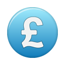 currency, pound, blue icon