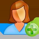 female, user, plus icon