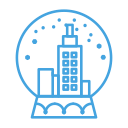 decor, snow, city, snowglobe, decoration icon