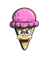 cone, cream, emoji, cartoon, ice icon