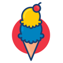 ice cream, dessert food, colorful icon