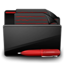 Black, Documents, Folder, Red icon