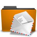 Folder, Mail, Orange icon