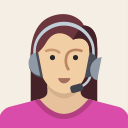 female, woman, support, user, person, avatar, headset icon