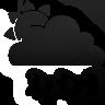 partly, rain, cloudy, black icon