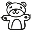 Bear hand drawn animal toy icon