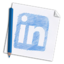 hand-drawn, linked, colour pencil, pencil, hand drawn, linkedin, linked-in, paper, media, color pencil, network, social, page, in icon