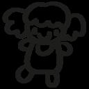 Female doll hand drawn toy icon