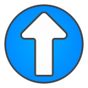 up, circle, arrow icon