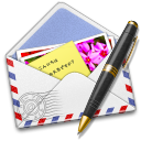 Airmail, Pen, Photo, Stamp icon