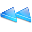Action arrow blue double left icon