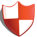 protection, shield, red icon