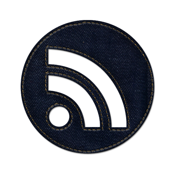 feed, subscribe, rss, social, jean, circle, round, denim icon