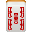 mahjong, bamboo, dora, red icon