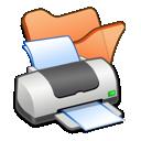 orange, folder, printer icon