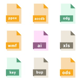 CAD,Database,Presentation,Spreadsheet,Vector file format icon sets preview
