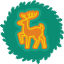 xmas, christmas, wreath, deer icon