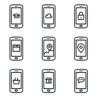 Mobile App Flat icon sets preview