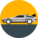 delorean, car, transport, vehicle, back to the future, future, transportation icon