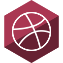 dribbble, media, social, gloss, hexagon icon