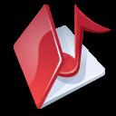 Folder, Music, Red icon