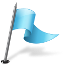 flag, right, azure, mapmarker icon