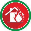 fire, emergency, house, flame icon