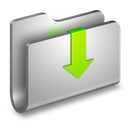 Downloads, Folder, Metal icon