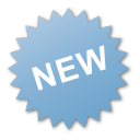 new, blue, label icon