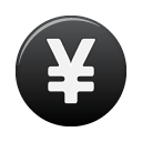 cash, black, currency, coin, yuan, money icon
