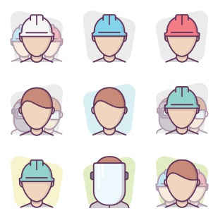 Construction Workers / Colors Background icon sets preview